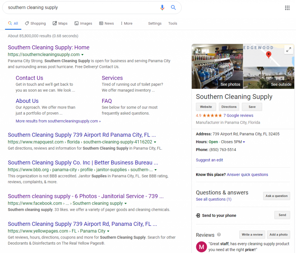 cleaning company seo ranking top spot for janitorial keywords