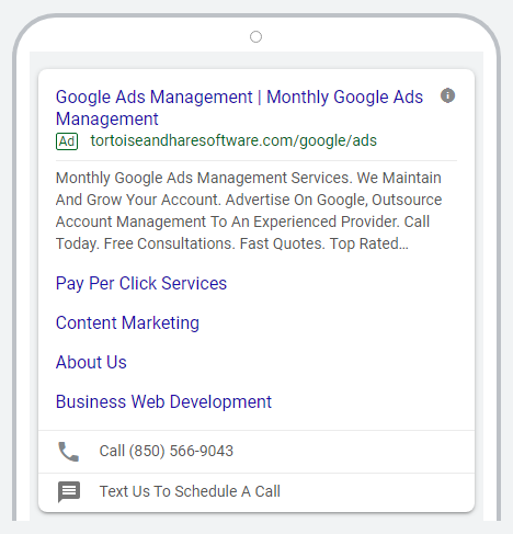 mobile preview of expanded text ad for ecommerce saas google ads case study