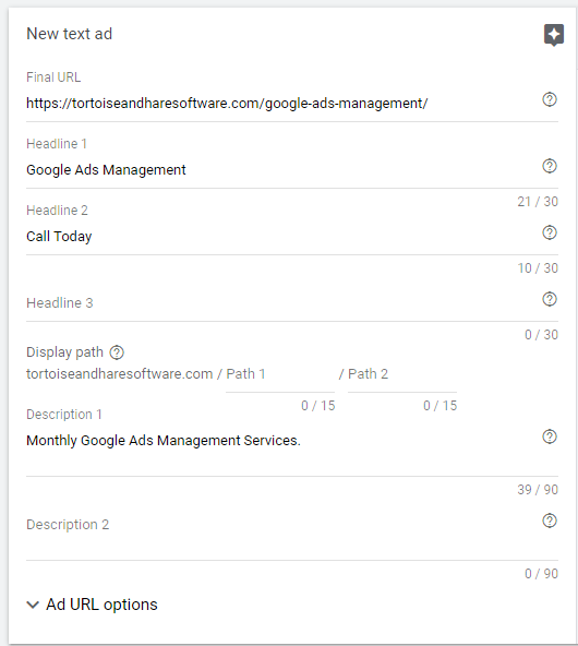 incomplete google ad copy
