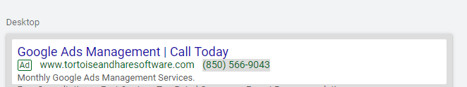 mobile preview of incomplete expanded text ad