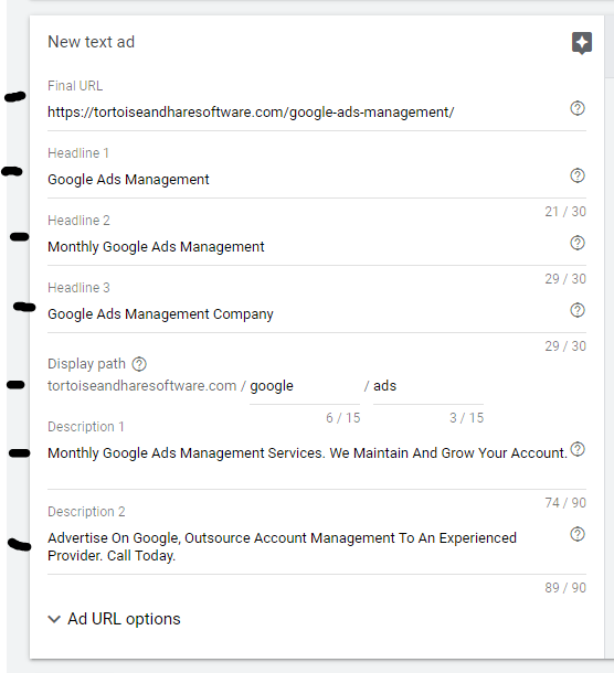 google ads case study fully filled out expanded text ad