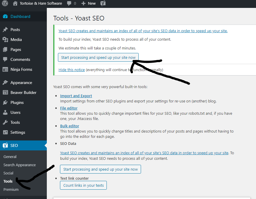 increase site speed button yoast indexables