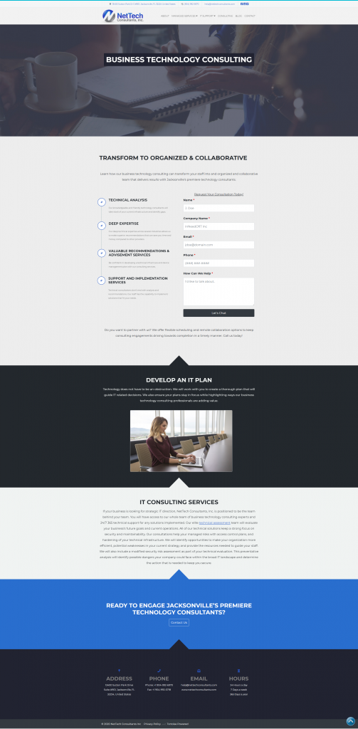 standard landing page template on a wordpress website