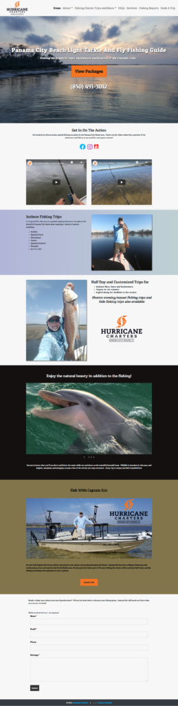 home page of a charter fishing website