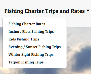 types of fishing packages for a charter fishing company