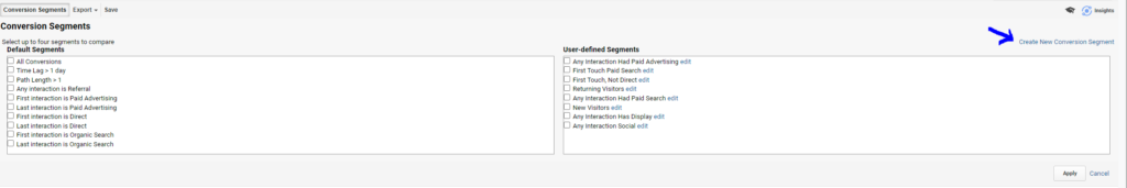 creating a new conversion segment in top conversion paths