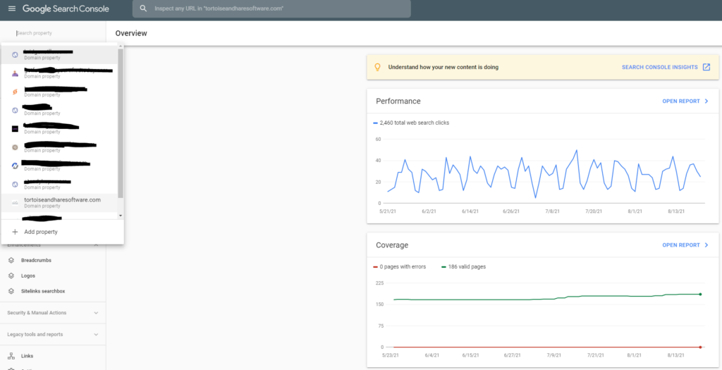 adding a property in google search console
