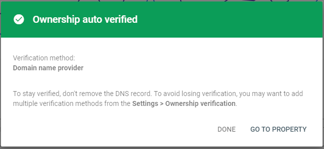 domain verification confirmation message with google search console
