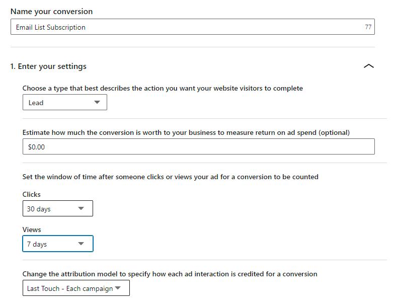 sample LinkedIn conversion configured through the UI