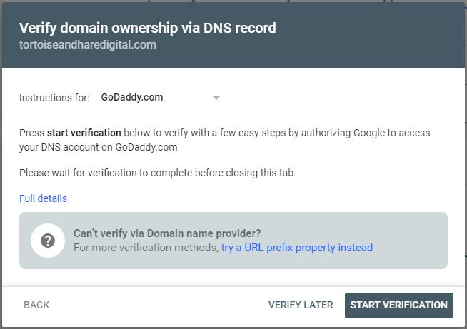 verify domain via registrar in google search console