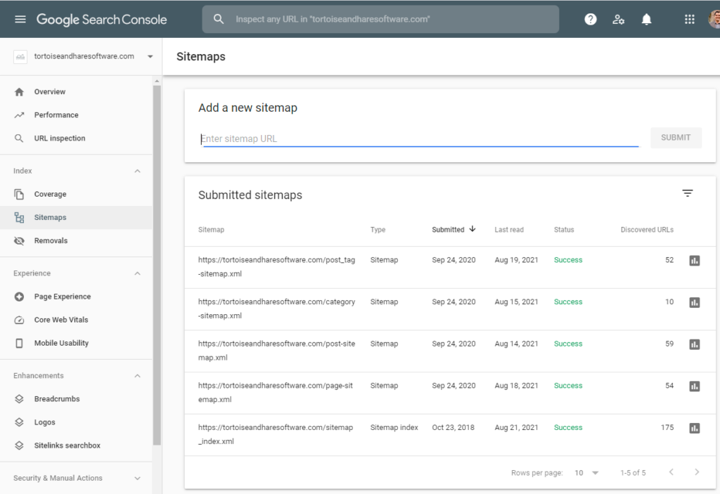 adding sitemaps to google search console