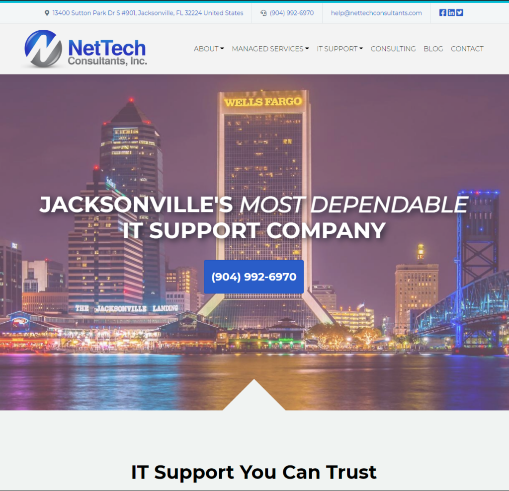 b2b tech company with search optimized landing page