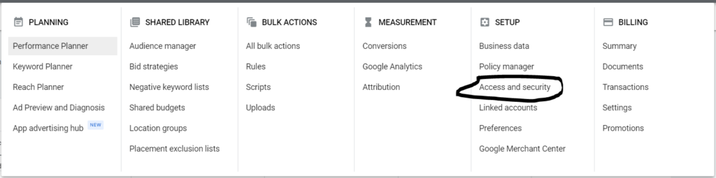 access and security in google ads
