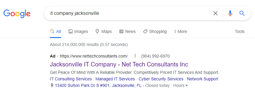 google ad for a local information technology company